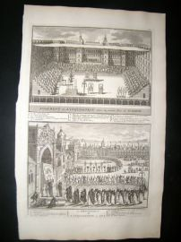 Picart C1730 Antique Print. Religious. Spanish & Goa Inquisition. Spain, India